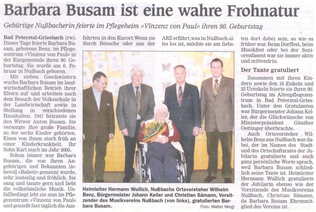 90. Geburtstag von Barbara Busam (2008)