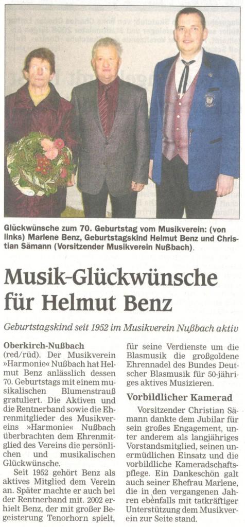70. Geburtstag Benz Helmut