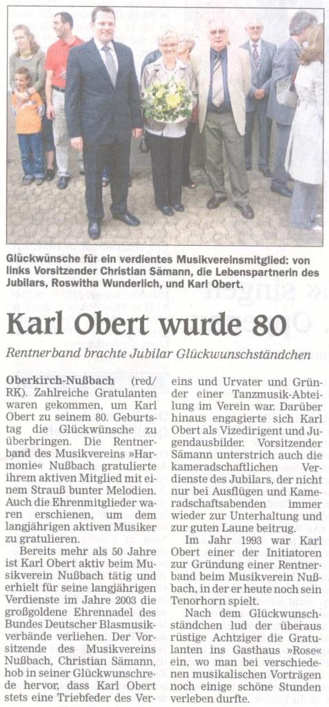 80. Geburtstag Karl Obert