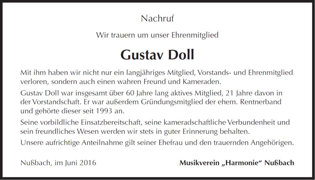 Nachruf Gustav Doll