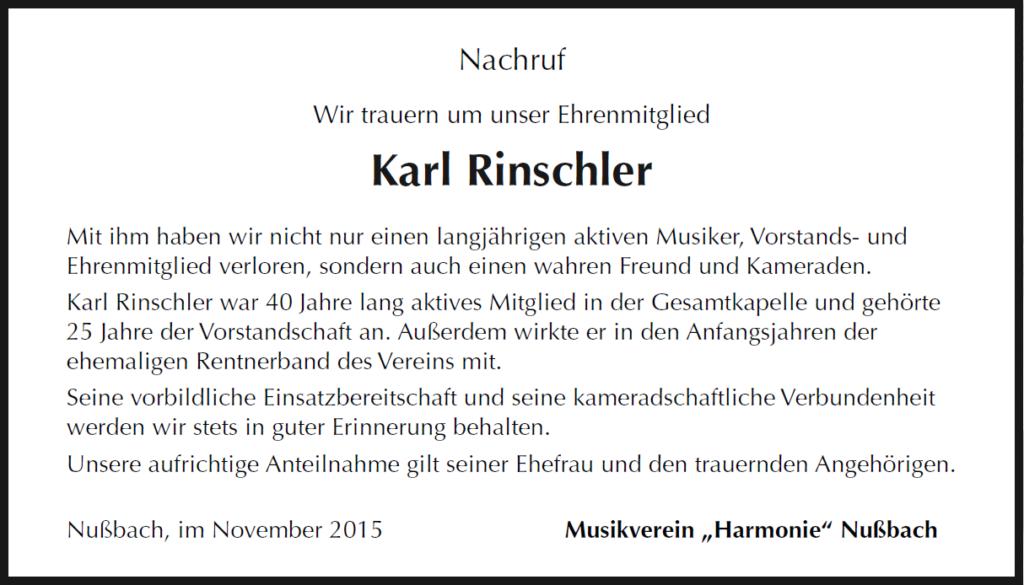 Nachruf Karl Rinschler